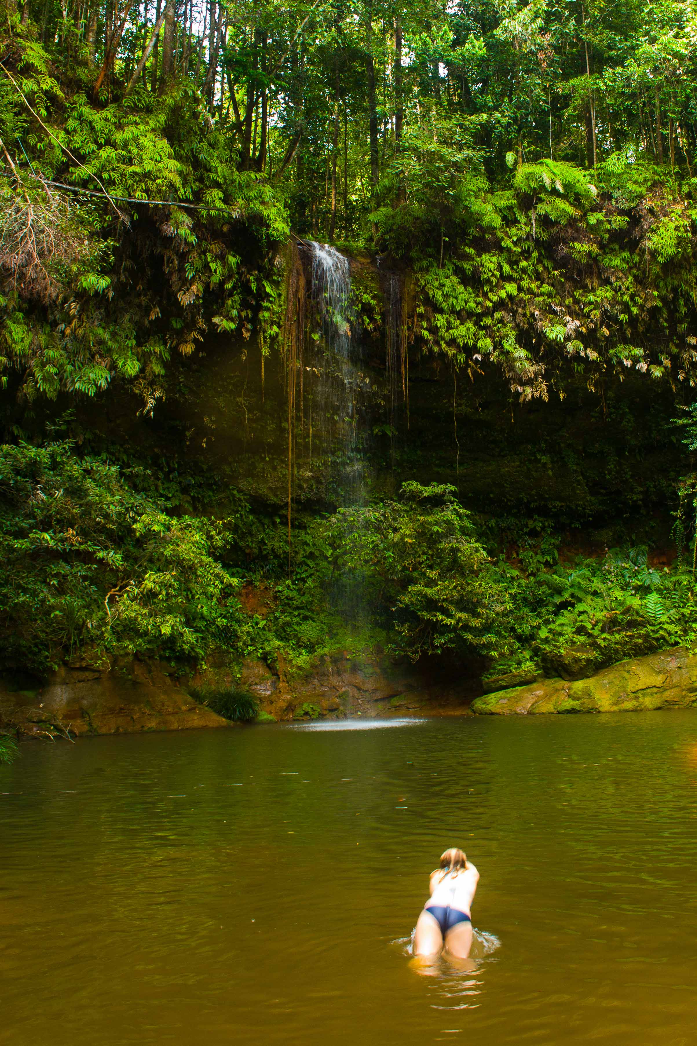 Taking the plunge into the cool water - Lambir Hills National Park