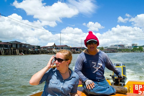 On the boat tour of the floating village
