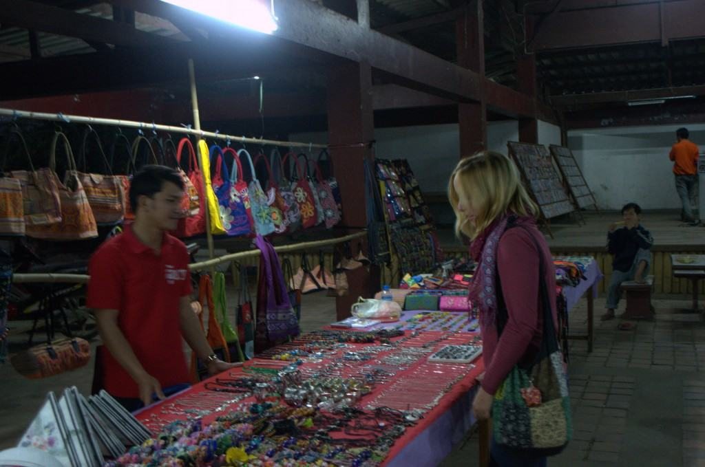 Shopping at the night market in Luang Prabang, Laos