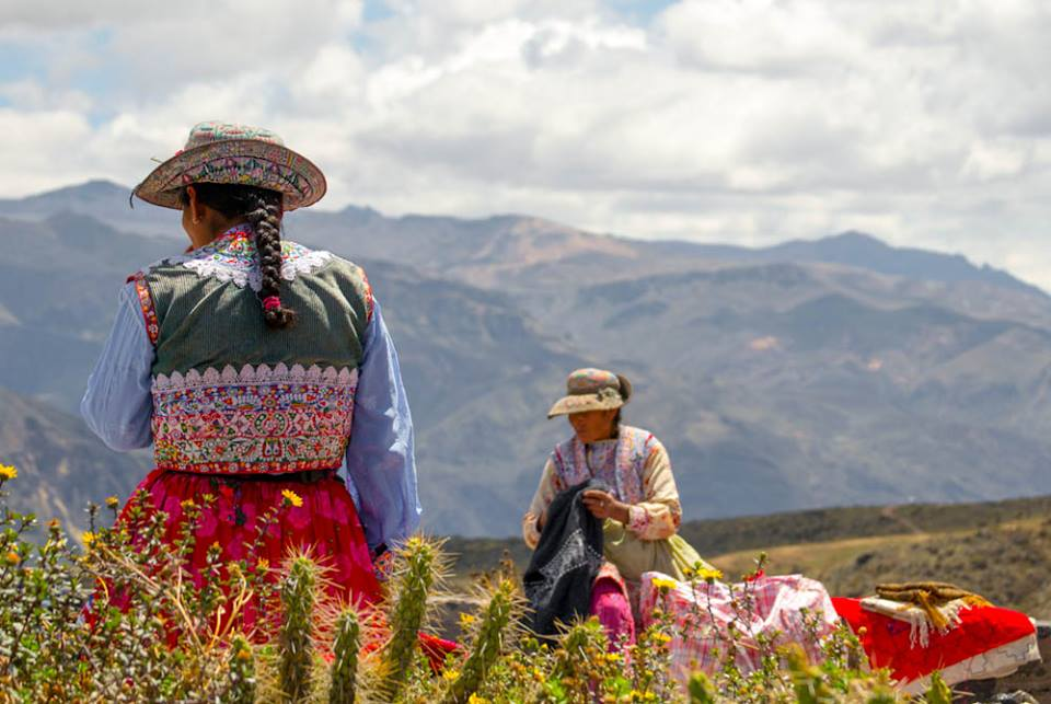 Women in traditional costume near Colca Canyon, Peru