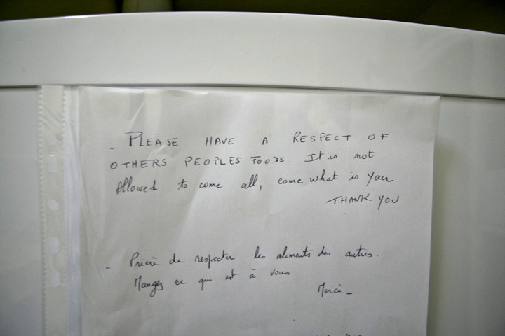A note on a hostel fridge... their English isn't perfect but the message is clear - don't take what isn't yours!