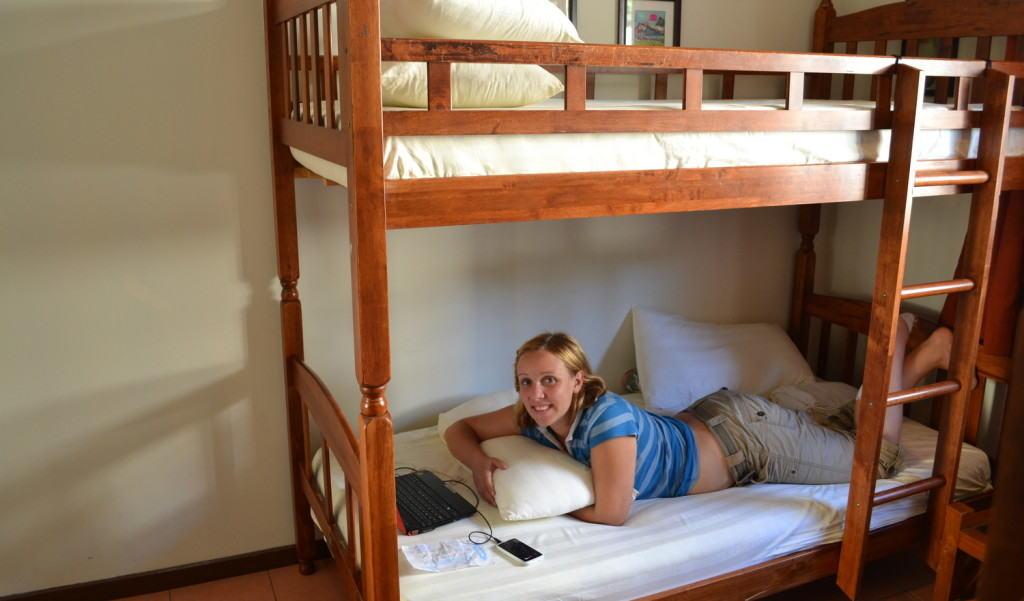A hostel dorm bed in Kota Kinabalu, Malaysia