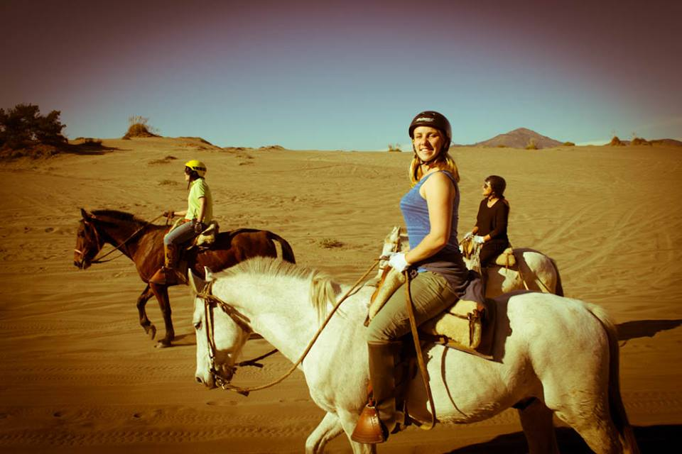 Riding horses in the desert in Chile