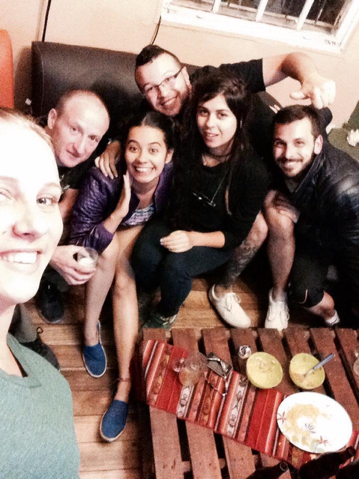 Having fun in the hostel common room in Quito, Ecuador