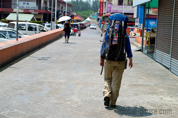 You don't have to wear your backpack when pretending to be a tourist in your hometown...