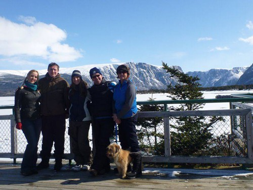 Lee and I with Angela and John and another CouchSurfer from Quebec at Gros Morne National Park, Newfoundland