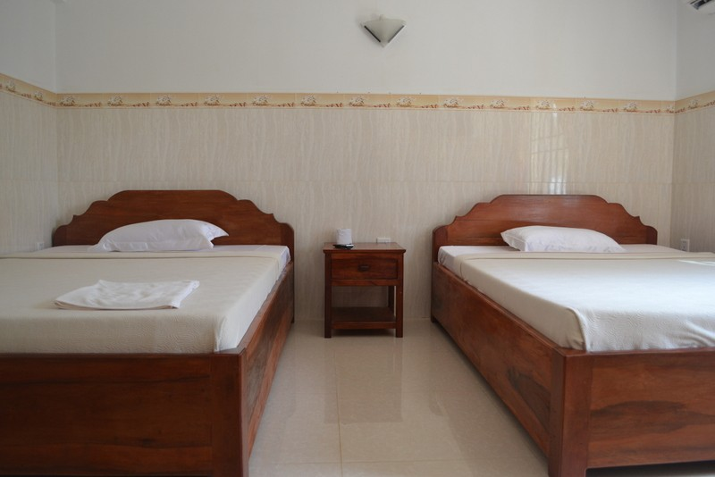 This hotel room in Kep, Cambodia cost us around $12 per night
