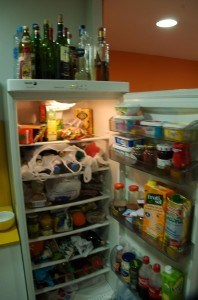A typical hostel fridge... would you be tempted to eat something that wasn't yours?