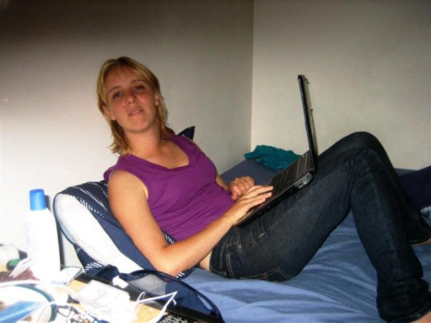 Working on one of my first writing gigs in our cheap apartment in Christchurch, New Zealand.